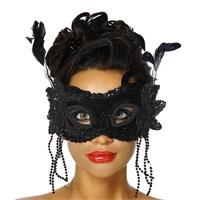 Pandoli Tüylü Wedding Parti Maskesi Boncuklu