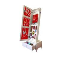 Trendy Gold - Kilitli Aynalı Takı Ve Aksesuar Dolabı Çekmeceli Beyaz Kırmızı