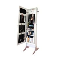First - Kilitli Aynalı Takı Ve Aksesuar Dolabı Ayaklı Beyaz Siyah