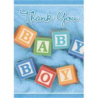 Parti Paketi Erkek Bebeğim Teşekkür Kartı 12'Li