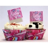 Parti Paketi Süslü Prenses Cupcake Kağıdı Ve Dekoru 24'Lü