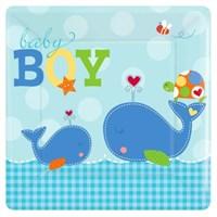 Parti Paketi Baby Boy Kare Açık Büfe Tabağı 8'Li