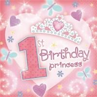 Parti Paketi 1 Yaş Prenses Peçete 36'Lı