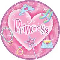Parti Paketi Süslü Prenses Büyük Tabak 8'Li