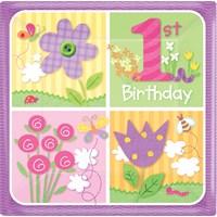 Parti Paketi İlk Yaşım Kız Kare Açık Büfe Tabağı 8'Li