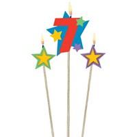 Parti Paketi 7 Yaş Mum Yıldız Dekorlu