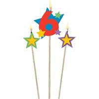Parti Paketi 6 Yaş Mum Yıldız Dekorlu
