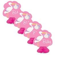 Parti Paketi Kız Bebek Leylek Partisi Mini Masa Orta Süsleri
