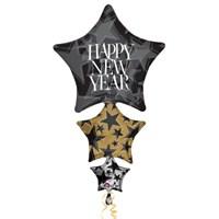 Parti Paketi Happy New Year Katlı Supershape Folyo Balon