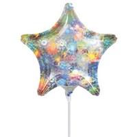 Parti Paketi Yıldız Holografik Gümüş Minishape Folyo Balon