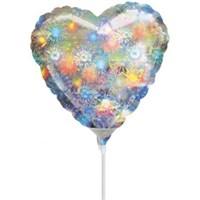 Parti Paketi Kalp Minishape Folyo Balon Holografik Gümüş