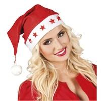 Parti Paketi Noel Baba Şapkası Yıldız Işıklı/Ponponlu