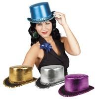 Parti Paketi Parlak Saten Silindir Şapka