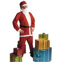 Parti Paketi Noel Baba Kostümü Sakallı Pantolon Ceket M/L