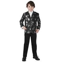 Parti Paketi Yıldızlı Parti Ceketi Siyah/Gümüş 7-9 Yaş