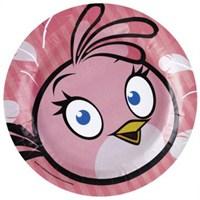 Parti Paketi Angry Birds Pink Büyük Tabak 8'Li