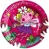 Parti Paketi Çiçek Perisi Büyük Tabak 8'Li