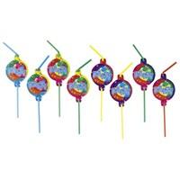 Parti Paketi Balonlar Şekilli Pipet 8'Li