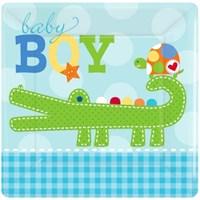 Parti Paketi Baby Boy Kare Küçük Tabak 8'Li