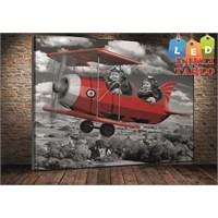 Tablo İstanbul Uçak Çocuklar Led Işıklı Kanvas Tablo 45*65 Cm