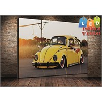 Tablo İstanbul Sarı Woswos Beetle Led Işıklı Kanvas Tablo 45*65 Cm