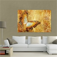 Atlantis Tablo Altın Rengi Kelebek 75X50 Cm