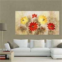 Atlantis Tablo Kırmızı Sarı Çiçekler 75X40 Cm