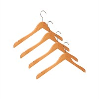 Nyn Ahşap 4'lü Naturel 44 cm Elbise Gömlek Askısı