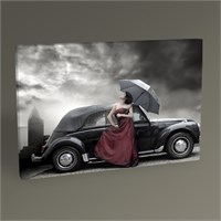 Tablo 360 Women Dressed İn Purple And Car 45X30