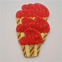 Desenli Keçeler Ütüyle Yapışabilen Cupcake Desenli Keçe Aplike