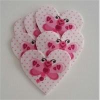 Desenli Keçeler Ütüyle Yapışabilen Kelebekli Kalp Desenli Keçe Aplike