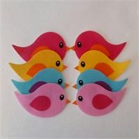 Desenli Keçeler Ütüyle Yapışabilen Kuş Desenli Keçe Aplike