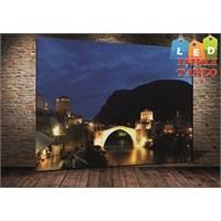 Tablo İstanbul Bosna Mostar Köprüsü Led Işıklı Kanvas Tablo