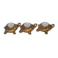 Atadan 3 Lü Altın Simli Kaplumbağa Mumluk