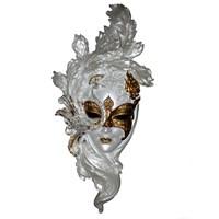 Gold Dekor Tavuskuşu Maske Sedefli Sarı