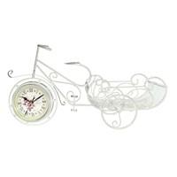 Gold Dekor Kamer Geniş Sepetli Bisiklet Saat Beyaz