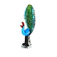 Lucky Art Renkli Tavuskuşu Cam Biblo 31 Cm