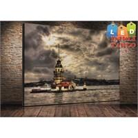 Tablo İstanbul Hdr Kız Kulesi Led Işıklı Kanvas Tablo 45*65 Cm
