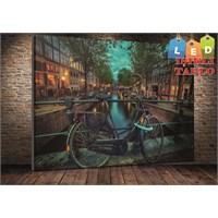 Tablo İstanbul Bisiklet Manzara Led Işıklı Kanvas Tablo 45*65 Cm