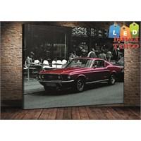 Tablo İstanbul Mustang Kırmızı Led Işıklı Tablo 45*65 Cm