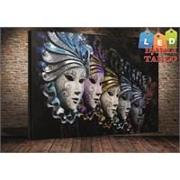 Tablo İstanbul Maske Venedik Led Işıklı Kanvas Tablo 45*65 Cm