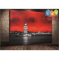 Tablo İstanbul Kız Kulesi Siyah Kırmızı Led Işıklı Kanvas Tablo 45*65 Cm