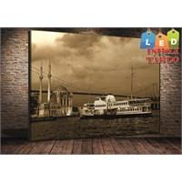 Tablo İstanbul Ortaköy Vapur İstanbul Led Işıklı Kanvas Tablo 45*65 Cm