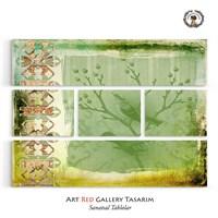 Artred Gallery Beş Parça Dekubaj Yeşil Kuş Tablo 126X96