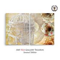 Artred Gallery Beyaz Kafes İki Parça 83X55 Tablo