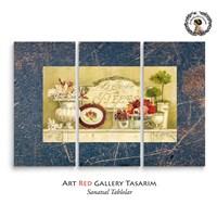 Artred Gallery Dekubaj Çiçekler Üç Parça 75X115 Tablo