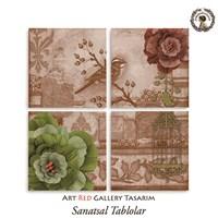 Artred Gallery Dekubaj Kuş Dört Parça 83X83 Tablo