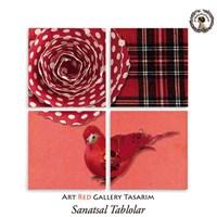 Artred Gallery Kırmızı Kare Kumaş Dört Parça 83X83 Tablo