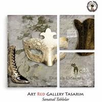 Artred Gallery Lady Ve Maske Üç Parça 73X89 Tablo