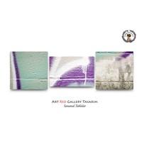 Artred Gallery Pembe Yeşil Duvar Üç Parça 50X165 Tablo